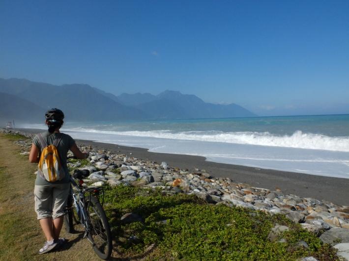 Biking along the coast at Hualien